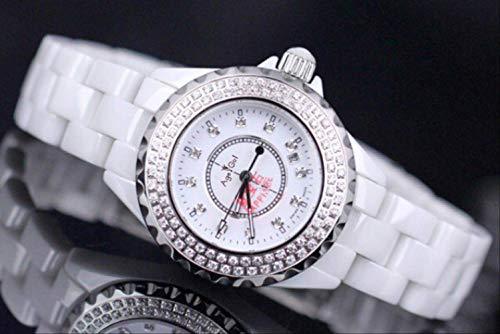 LKYH Klassische Armbanduhr Top Ceramic Diamonds Damenuhren Herren Damen Ceramica Uhr Mode Strass Quarz Kleidertisch Gent ArmbanduhrHerren