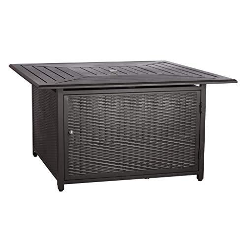 Amazon Basics – 62515 Outdoor-Feuertisch für die Terrasse, mit gasbetriebener Feuerstelle, Schwarz