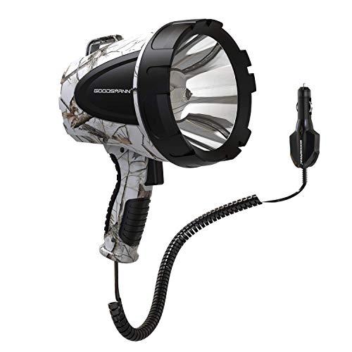 GOODSMANN Spotlight Camo Hunting Spot Lights 12 Volt Marine Spotlight Tacticpro 1500 Lumen Realtree AP-Snow Halogen Spotlighting 9924-H102-02