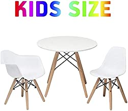 Buschman Set of Kids Dining Room Mid Century Wooden Legs Table in White and Armchair & Armless Chair