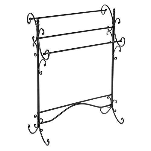 Best Deals! Portable Quilt Display Stand, Free-Standing Contemporary Rustic Wrought Iron Scroll Quil...