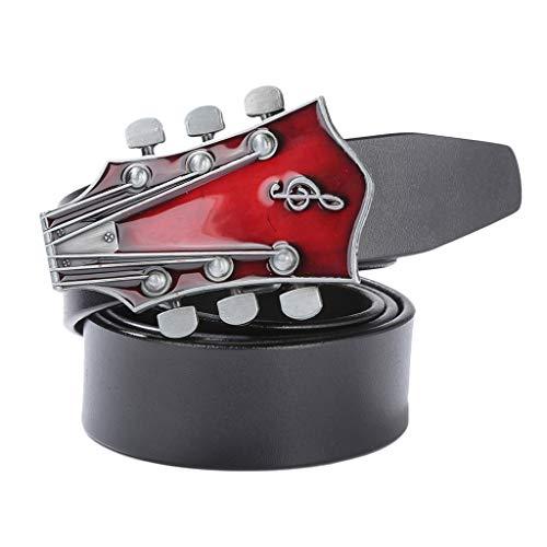 sharprepublic Ledergürtel mit Country Musik Gitarren Gürtelschnalle, Leder Gürtel Herrengürtel Jeansgürtel Modeschmuck für Männer und Frauen - Schwarz, 120 cm