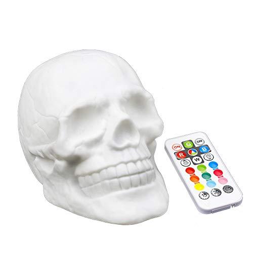 Luz LED engañosa colorida teledirigida divertida de la palmadita de la cabeza del cráneo