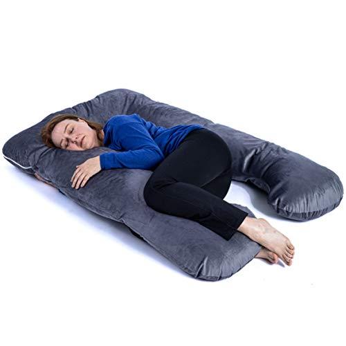 KomfortKissen ORIGINAL - Premium Orthopädisches Kuschelkissen | Körperkissen | Seitenschläferkissen - Für besseren Schlaf und gegen Rückbeschwerden, 100 x 150 cm (Mikroplüsch - Dunkelgrau)