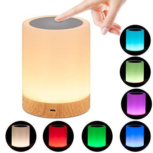 omitium Nachttischlampe, LED Nachtlampe mit Dimmer 360° Berührungssensor USB Aufladbar Tragbare 16 Farben Tischleuchte für Kinder Schlaf Zimmer Camping (Warmweiß)