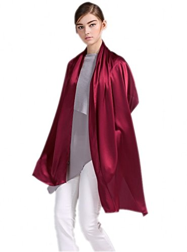 prettystern Damen festlich Stola Crepe Satin Seide uni-farbe Schulter-Tuch für Abendkleider rot weinrot