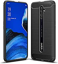 for Oppo Reno2 Z Carbon Fiber Hybrid Heavy Duty Anti Knock Protective Shockproof Back Case Cover (Black)