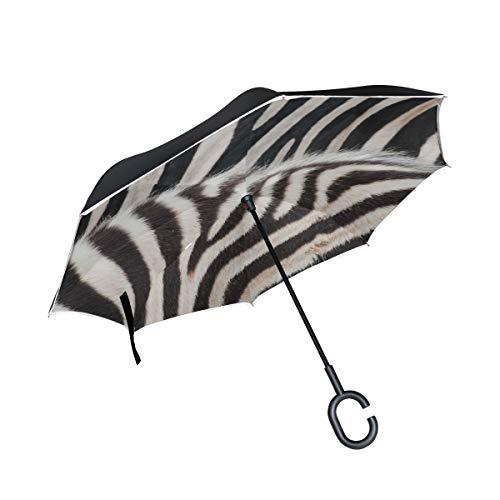 Double Layer Inverted Folded Umbrella Zebra Schwarz-Weiß-Streifen Fold Umbrella Folding Sun Umbrella Winddichter UV-Schutz für Regen mit C-förmigem Griff