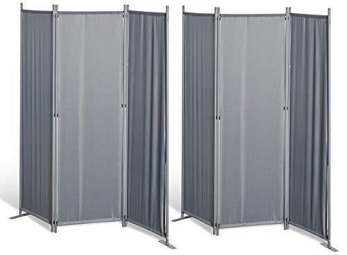 GRASEKAMP Qualität seit 1972 2 Stück Paravent 3tlg Raumteiler Trennwand Sichtschutz Grau