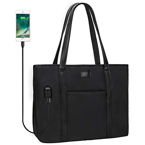 Relavel Laptop Tote Bag for Men and Women Business Work Teacher School USB Bag Briefcase Travel Fits 15.6 inch Laptop