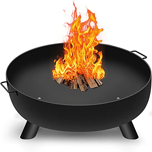 Amagabeli Fire Pit Outdoor Wood Burning Fire Bowl 39in with A Drain Hole Fireplace Extra Deep Large Round Cast Iron Outside Backyard Deck Camping Beach Heavy Duty Metal Grate Rustproof Black