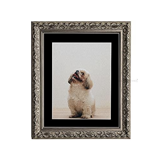 Tailored Frames Marcos a Medida de la Virenna, Plateado, Estilo Vintage Ornamento, Cuadros Chic Shabby de la Imagen, tamaño 80 x 60 cm, para 70 x 50 cm, con Soporte Negro