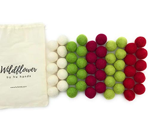 Holly Jolly Christmas Holiday (Green, Red, White) Wool Felt Balls | 100% Hand Felted in Nepal 100% NZ Wool | DIY Pom Poms for Garland, Craft, or Party Decor | 0.8 to 1 Inch Size | Muslin Bag Included