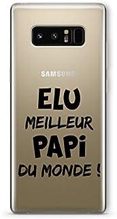 "ZOKKO Case for Samsung Note 8 with""Meilleur Papi du Monde"" (""Best Grandad in the World"") Design - Transparent - Black Ink"