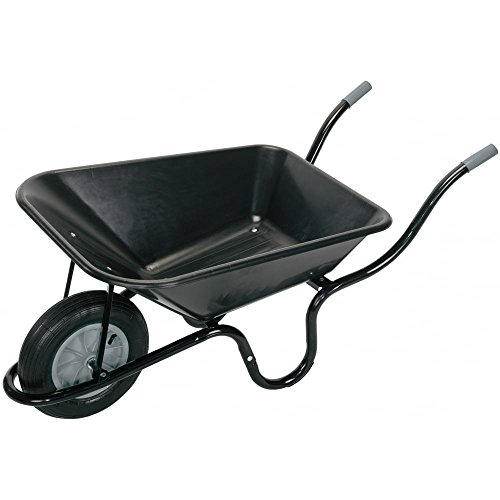 Draper 17993 Plastic Tray Wheelbarrow, Black, 85 Litre