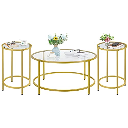 Yaheetech Coffee Table Set of 3, Round Coffee Table & 2pcs Accent End Table Easy Assembly w/Glass-Top Surface & Reinforced Frame for Living Room,Apartment,Small Space,Mustard Gold