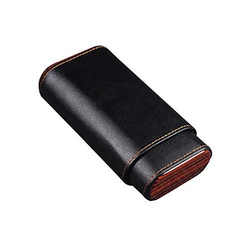 CLJ-LJ 3 Palillos De La Caja de cigarros portátil de Cedro, Cuero Original del Caso del cigarro, cálido y rollizo (Color: Negro, Tamaño: 14,7 * 7,8 * 3,8 cm)