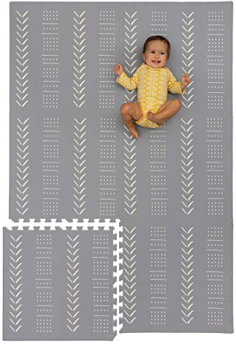 Childlike Behavior Baby Play Mat - Extra Large, Thick, Non-Toxic Foam Play Mat with Soft Interlocking Floor Tiles 72x48 Inches - Baby Floor Mat for Infants, Toddlers and Kids (Mudcloth - Gray)