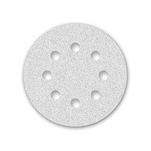 MENZER White Discos Abrasivos con Velcro, 125 mm, 8 Agujeros, Grano 240, para Lijadoras Roto Orbitales, Corindón Normal con Estearato (50 Piezas)