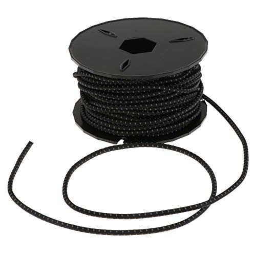 P Prettyia 3mm Shock Bungee Cords Elastic Ropes for Outdoor Survival Camping Hiking Marine Boat Crafting Gear Bundles - Black