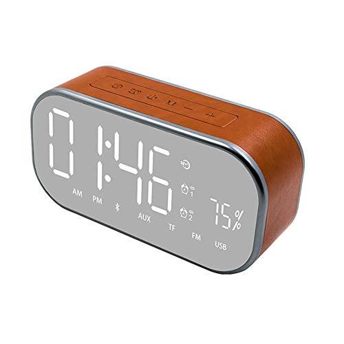 Stilvoller Kabelloser Bluetooth-Lautsprecher, 360 ° -Surround-Soundsysteme, Tragbarer Lederwecker, Spiegelbass-Sound/Klarer Stereoklang/Satter Bass,Brown