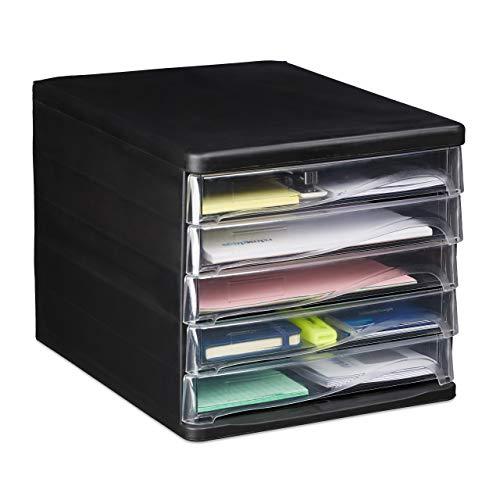 Relaxdays Organizer da Scrivania 5 Cassetti per Articoli di Cancelleria e Documenti, Formato A4 HLP 24,5x26,5x34 cm Nero, PP, 24 x 26 x 34 cm