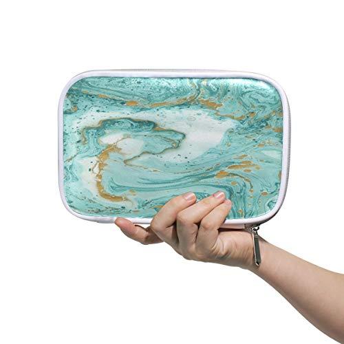 Estuche escolar con textura de mármol verde, estuche de papelería para cosméticos, color oro blanco