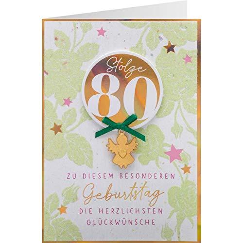 Sheepworld, Gruss & Co - 90996 - Klappkarte, Schutzengel, Nr. 54, Geburtstag, Stolze 80! Zu diesem besonderen Geburtstag die herzlichsten Glückwünsche, mit Umschlag, grün