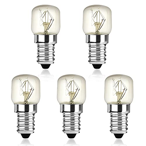 Bonlux Bombillas E14, 25 W, 150 lm, lámpara halógena T22, luz blanca cálida, 2400 – 2600 K, luz de tungsteno, hasta 300 °C, resistentes al calor (5 unidades, no regulables)