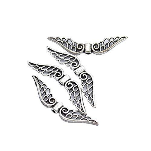 FSSTUD 100 Pieces Ailes d'ange en Alliage Pendentif Ailes d'ange Perle Bijoux pour Fabrication de Bijoux Argent
