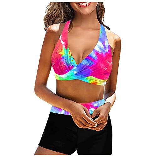 VODMXYGG Las Mujeres de la Moda del Bikini Impreso Cuello de la Correa del Pecho de la Playa del mar Traje de baño de Citas Bañador Vacaciones 0916600