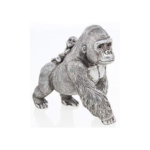 The Leonardo Collection Reflections Silver Gorilla and baby Ornament Figurine