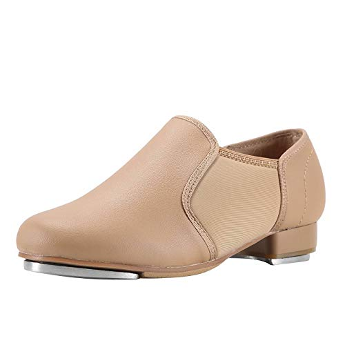 Linodes Upgraded Unisex PU Leather Slip On Tap Shoe Dance Shoes for Women and Men's Dance Shoes-Brown-9M