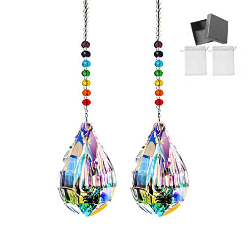 MerryNine Prism, Ab Color K9 Crystal Colorful Lamp Prisms Loquat Shape Chandelier Glass Crystals Hanging Drops Pendants, Sun Catcher Prism Pendent with MerryNine Pearl Yarn Gift Sandbag(2PACK)