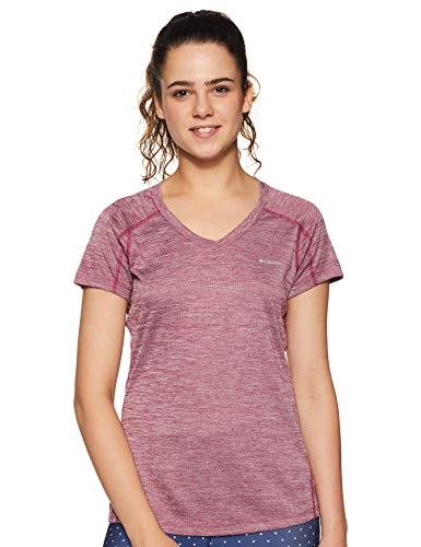Columbia Kurzärmliges T-Shirt für Damen, ZERO RULES SHORT SLEEVE SHIRT, Polyester, Violett (Wine Berry Heather), Gr. XL, 1533571