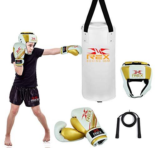 Rex Sports Boxsack-Set enthält schwer gefüllte Boxhandschuhe, ein Paar Kopfschutz-Kopfbedeckungen und ein Springseil für Training, Boxen, Sparring und Kicking (weiß, 60 cm)