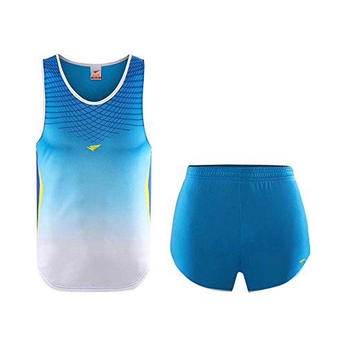 KINDOYO Femmes Hommes sans Manches Athlétique Gilets T-Shirt Vêtements de Running Jogging Ensemble Maillot et Short Sportswear, Bleu, EU 2XL=Tag 3XL-M, Hauteur:175-180cm