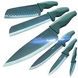 Wanbasion 6 Pezzi Set di Coltelli da Cucina Professionali Chef, Set Coltelli da Cucina Acciaio Inox,...