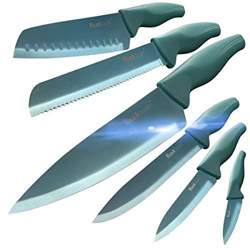 Wanbasion Green - Set di coltelli da cucina professionali da cuoco, in acciaio inox, set di coltelli da cucina, lavabile in lavastoviglie con guaine