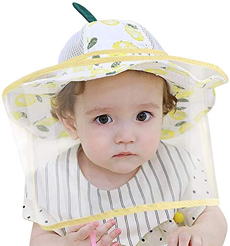 Bébé Chapeau de Protection Faciale avec Visière Transparent Enfant Garçon Fille Été Bob Anti UV Anti Buée Bonnet Pêcheur Casquette Protecteur de Visage pour Plein Air Plage - 0-2 Ans