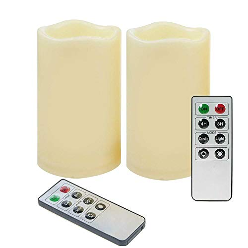 "Braides Candles and Holders 2 PCS Waterproof Outdoor Battery Flameless LED Pillar Candles w/Remote 3""x 4.7"" (Eco Candles and Quality Holders)"
