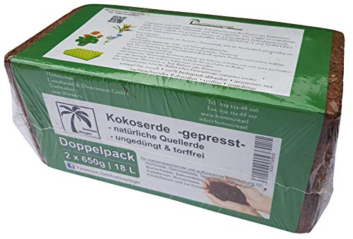 Humusziegel - 2 x 650g - 18 L Kokoserde - gepresste Blumenerde - Kokosblumenerde
