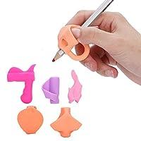 子供の手書きグリップシリコーン手書き手書き学習姿勢修正5ピース(ワームの色)
