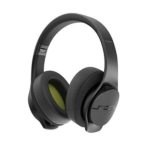 SOL Republic Soundtrack Wireless Over-Ear Kopfhörer - 48 Stunden Spielzeit, Schnellladetechnologie, leicht, faltbares Design, integriertes Mikrofon, gepolsterte Ohrmuscheln - schwarz