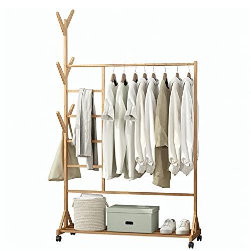 Appendiabiti, Stand Appendiabiti in Bambù con Ruote, 170x100x37cm, con Scomparto per Pantaloni e Portaoggetti Inferiore, con 6 Ganci, Naturale