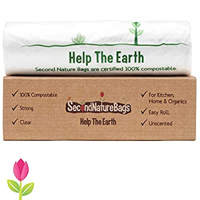 Second Nature Bags, Premium Certified 100% Compostable Biodegradable, 3 Gallon, 100 Bags, Small Kitchen Food Scraps & Home Trash Bags