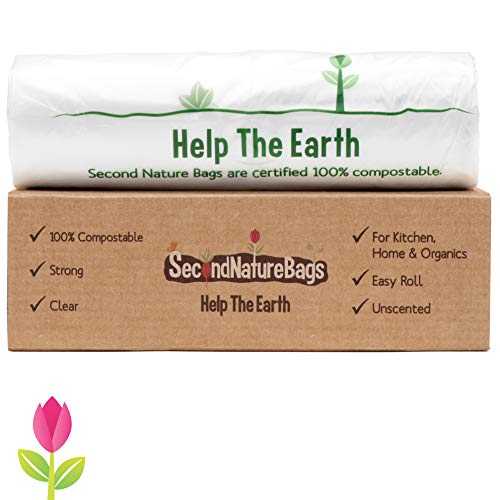 Second Nature Bags, Premium Certified 100% Compostable Biodegradable, 3 Gallon, 100 Bags, Large Kitchen Food Scraps & Home Trash