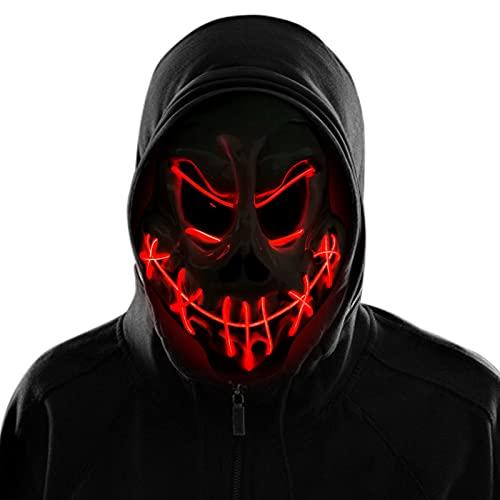 KATELUO Máscara LED Halloween, Halloween Mascaras LED Máscaras Carnaval, Máscara...