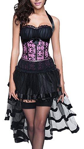r-dessous sexy Corsagenkleid Corsage + Rock Mini Kleid schwarz Cocktailkleid Partykleid Abendkleid Gothic kurz Groesse: 6XL