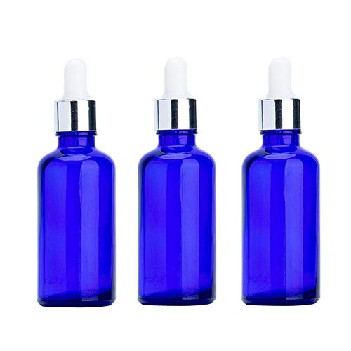 3PCS 50ML 1.7OZ vide flacon compte-gouttes en verre bleu rechargeable avec tête en caoutchouc blanc et parfum de pipette huile essentielle support de pot d'arôme contenant de stockage de cosmétiques